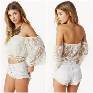 JENS PIRATE BOOTY LACE TOP FREE PEOPLE PLANET BLUE